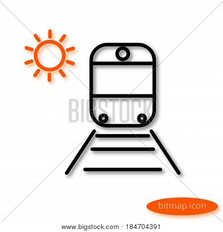 Simple  image of a train on rails with sleepers and orange sun, a flat line icon for a travel agency