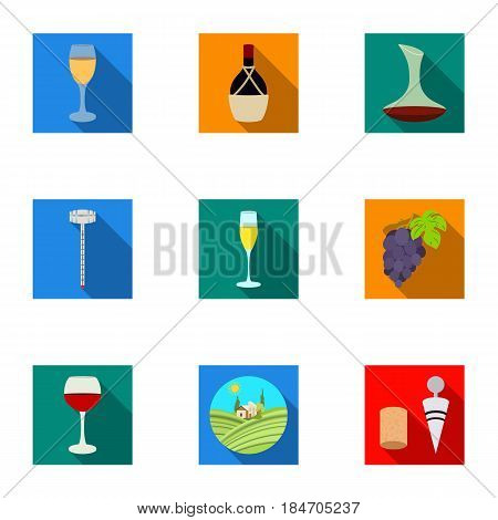 Wine products. Growing grapes, wine.Vine production icon in set collection on flat style vector symbol stock web illustration.