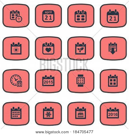 Vector Illustration Set Of Simple Calendar Icons. Elements Snowflake, Summer Calendar, Agenda And Other Synonyms Block, Birthday And Day.