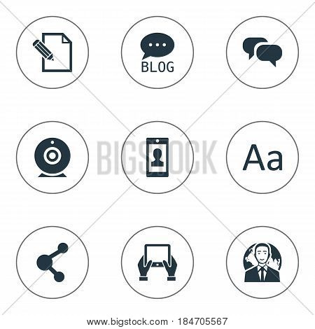 Vector Illustration Set Of Simple User Icons. Elements International Businessman, Gossip, Notepad And Other Synonyms Notepad, Typography And Network.
