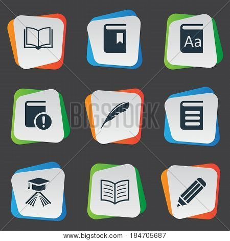 Vector Illustration Set Of Simple Education Icons. Elements Graduation Hat, Book Cover, Pen And Other Synonyms Pen, Dictionary And Catalog.