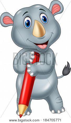 Vector illustration of Cartoon rhino holding a pencil