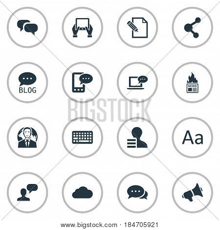 Vector Illustration Set Of Simple User Icons. Elements Laptop, Man Considering, Gain And Other Synonyms Gossip, Forum And E-Letter.