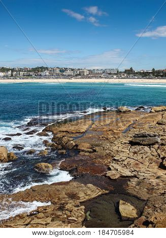 Bondi Beach is perhaps Australia's most famous beach. This images is from the rocks at the northern headland. Bondi Beach - NSW - Australia