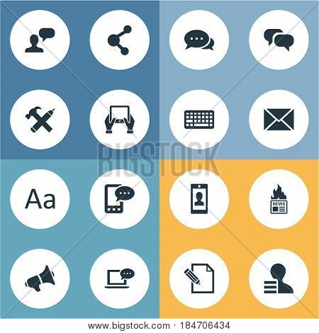 Vector Illustration Set Of Simple Newspaper Icons. Elements Gain, Repair, Loudspeaker And Other Synonyms E-Letter, Earnings And Keyboard.