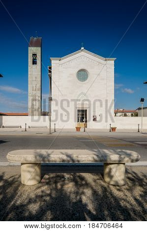Marina Di Pisa, Italy - Avril 24, 2017: View Of The Church, Marina Di Pisa In Tuscany