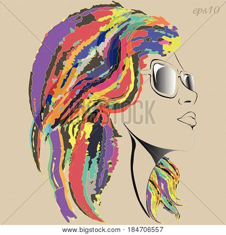 Girl in glasses Portrait of a modernist style girl with mottled hair a bright hairstyle author's design sketch face black line snub nose full lips stock vector illustration neck slender