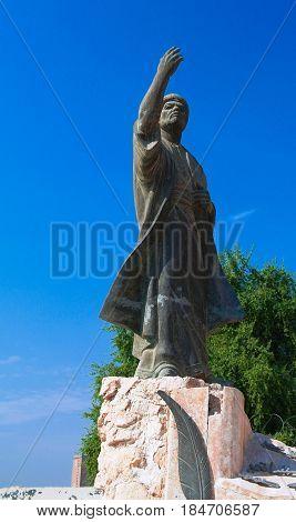 Iraqi poet Al-Mutanabbi Statue at the end of Mutanabbi Street in Baghdad Iraq