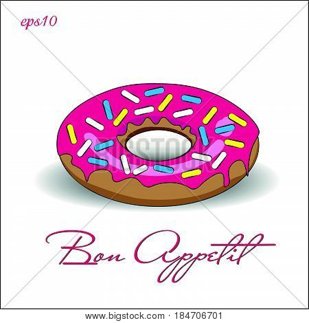 Donut with pink icing Picture bright appetite dessert multi-colored crumb shadow text illustration stock vector