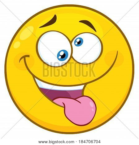 Mad Yellow Cartoon Face Character With Crazy Expression And Protruding Tongue. Illustration Isolated On White Background