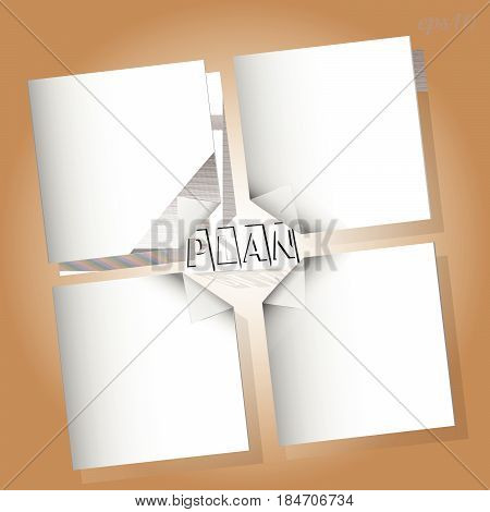 My action plan is infographic Drawing of a white sheet of paper with a curved corner of the text in the middle image shadow working surface brown color color stock vector illustration
