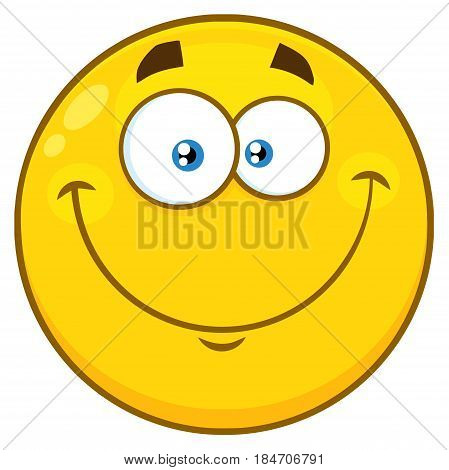 Smiling Yellow Cartoon Face Character. Illustration Isolated On White Background