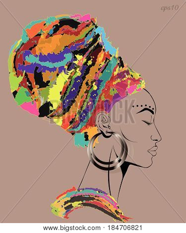 Woman with closed eyes Portrait of a woman in a motley headdress big ear ear long eyelashes high forehead stock vector illustration