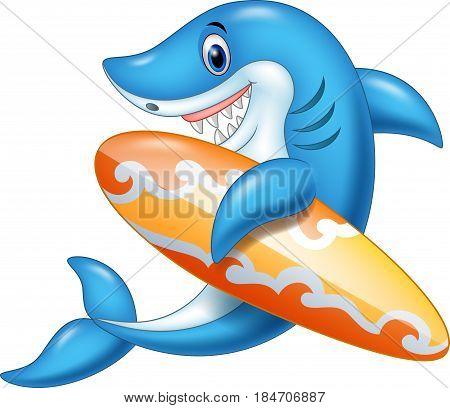 Vector illustration of Cartoon shark holding surfboard