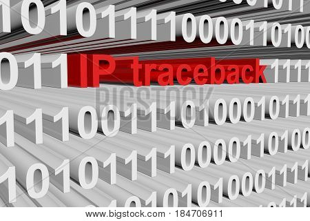 IP traceback in the form of binary code, 3D illustration