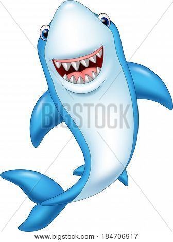 Vector illustration of Cartoon smiling shark isolated on white background