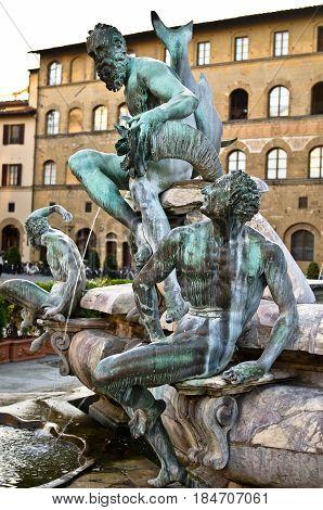 Bronze statue detail of Neptune Fountain in Florence, situated on the Piazza della Signoria , sculptor Bartolomeo Ammannati 1563-1565.