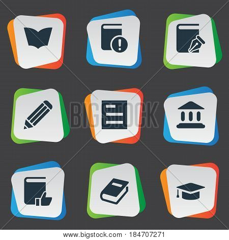 Vector Illustration Set Of Simple Knowledge Icons. Elements Reading, Academic Cap, Tasklist And Other Synonyms Writing, Write And Pencil.