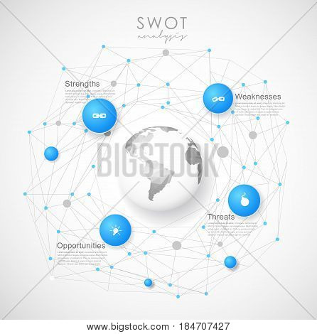SWOT - (Strengths Weaknesses Opportunities Threats) business strategy mind map concept for presentations. Template with blue circles dots and polygonal globe - light version.
