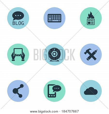 Vector Illustration Set Of Simple User Icons. Elements Gazette, Repair, E-Letter And Other Synonyms Relation, Site And Gazette.