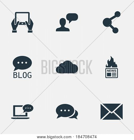 Vector Illustration Set Of Simple User Icons. Elements Gazette, Post, Laptop And Other Synonyms Tablet, Forum And Overcast.