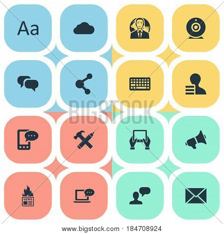 Vector Illustration Set Of Simple Blogging Icons. Elements Post, Overcast, Notepad And Other Synonyms News, Notepad And Speech.