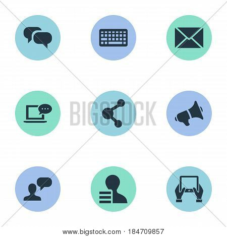 Vector Illustration Set Of Simple Newspaper Icons. Elements Man Considering, Share, Post And Other Synonyms Laptop, Relation And Keyboard.