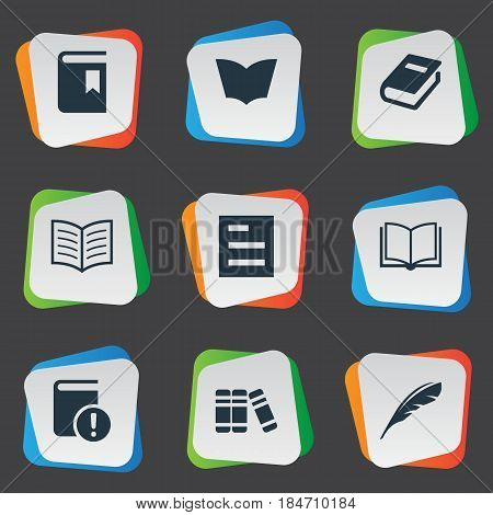 Vector Illustration Set Of Simple Knowledge Icons. Elements Blank Notebook, Book Page, Tasklist And Other Synonyms Textbook, Document And Book.