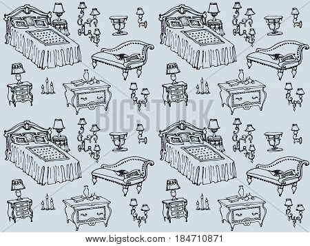 Seamless texture - hand-painted vector sketch in blue background of bedroom furniture, bed, dresser, nightstand, lamp, chair cushion, blanket