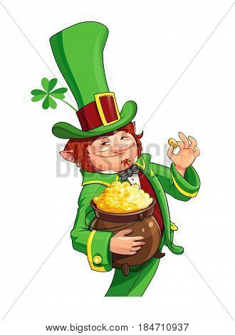 Gnome leprechaun. Fairy-tale character for Saint Patrick's Day. Rich dwarf man with pot of gold coins. Shamrock symbol success and luck. isolated white background. Eps10 vector illustration.