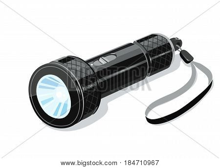 Pocket metallic touristic flashlight. Luminescence equipment. Light device for tourist. isolated white background. Eps10 vector illustration.