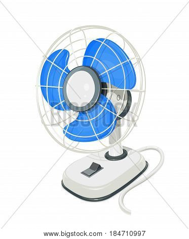 Desk air fan. Device for conditioning room. Comfort electric blower. Wind ventilator. isolated white background. Eps10 vector illustration.