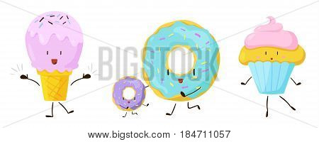 Cute sweet cartoon food icons set. Vector illustration for restaurant dessert menu design. Doughnut, ice cream, cupcake, bakery cake, muffin, delicious pastry cartoon icon on white background