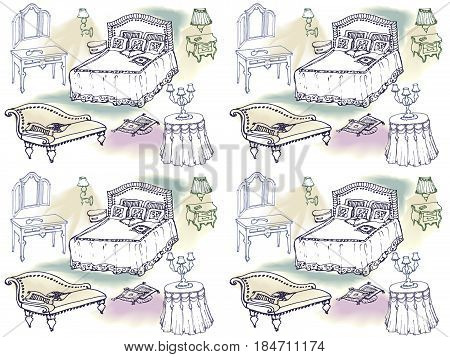 seamless pattern from sketch in lines of a classic set - furniture for the bedroom, bed, dresser, nightstand, lamp, chair cushion, blanket