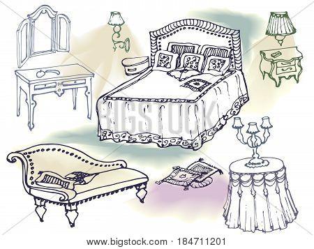 Vector hand draving sketch in lines of bedroom furniture, bed, dresser, nightstand, lamp, chair cushion, blanket