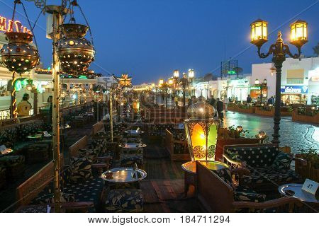 Sharm al Sheikh, Egypt - 16 February 2005: Night view of Naama Bay at Sharm el Sheikh, Egypt