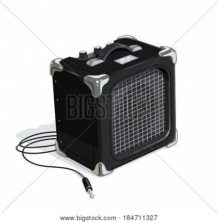 Black guitar combo amplifier with cord. Audio and sound device for rock music. Acoustics instrument guitarists. Booster musicians. isolated white background. Eps10 vector illustration.