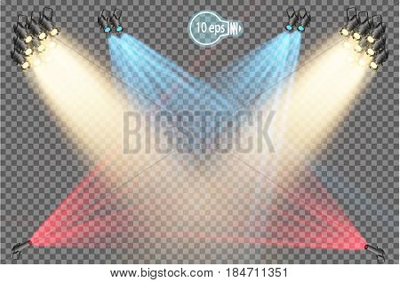 The projector is a light device that redistributes the light of the lamp at angles and provides an angular concentration of the light flux. Professional equipment for concert lighting. Light effect