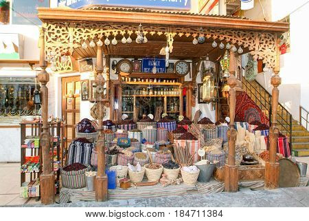 Sharm al Sheikh, Egypt - 16 February 2005: Bags of spices at a shop in Sharm el Sheik on Egypt