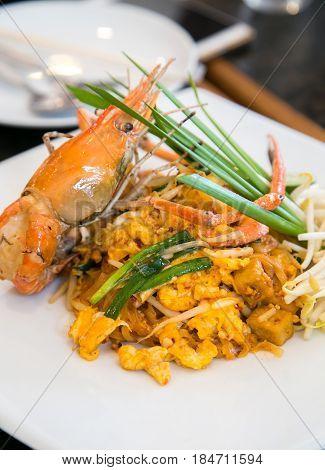 Thai stir-fried rice noodles (Pad Thai) at Bangkok , Thailand