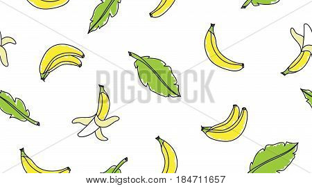 vector seamless pattern with hand drawn bananas and leaves on white background