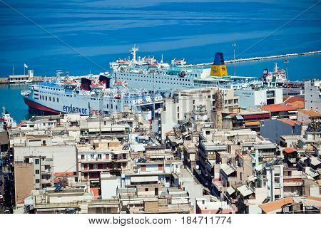Patra, Greece - July, 2010: Patra city port in Greece. Patras is the third largest city of Greece, and also the capital of the Achaea region
