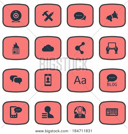 Vector Illustration Set Of Simple User Icons. Elements Gazette, Repair, Site And Other Synonyms Tablet, Earnings And Gazette.