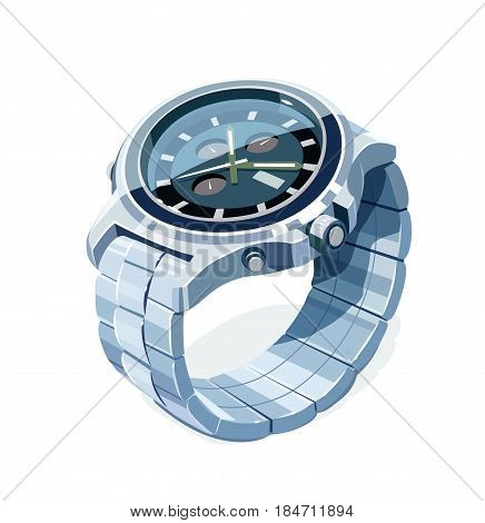 Wrist mechanical watch. Personal business accessory. Arrow Show time. Trendy classic device. isolated white background. Eps10 vector illustration.