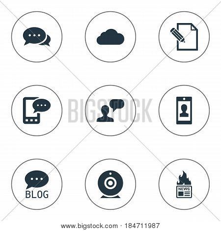 Vector Illustration Set Of Simple Blogging Icons. Elements Overcast, Argument, Man Considering And Other Synonyms Considering, Overcast And Site.