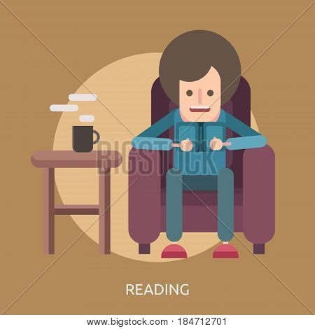 Reading Conceptual Design | Great flat illustration concept icon and use for education, science, learning, reading and much more.