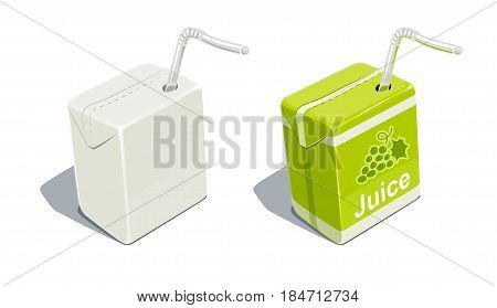 Cardboard pack with tube blank and for grapes juice. Beverage Package. Packaging healthy food. Container natural fruit sap. isolated white background. Eps10 vector illustration.
