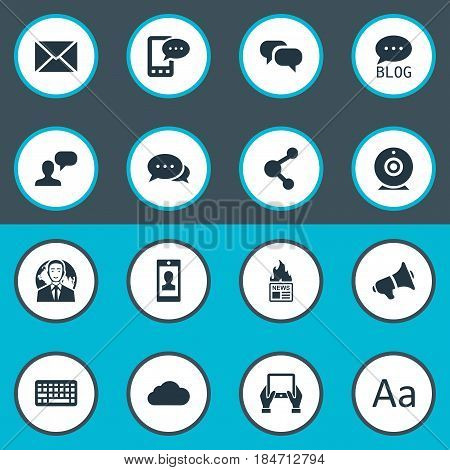 Vector Illustration Set Of Simple Blogging Icons. Elements Profile, Loudspeaker, Cedilla And Other Synonyms Site, Web And Missive.