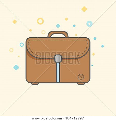 Simple Businessand  Finance Vector FlatIcon. Classic messanger bag as symbol of a bussiness man. Flat style icon.