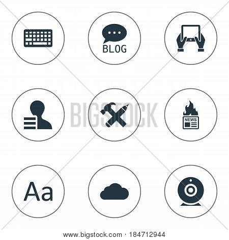 Vector Illustration Set Of Simple User Icons. Elements Repair, Gain, Gazette And Other Synonyms Earnings, Site And Pencil.